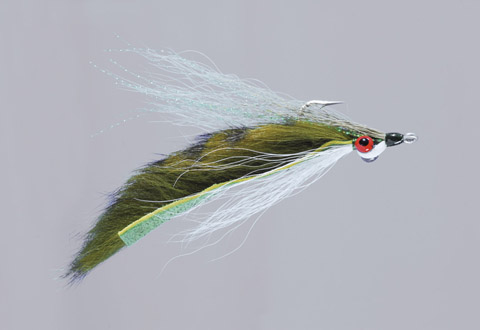Clouser's Olive/White Barred Fur Strip Minnow